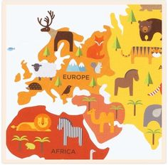 I love all of the animals! I want this map in my family room