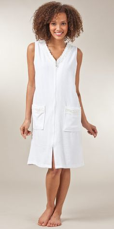 Terry Short Beach Cover up/Zip Robe - Pearl White