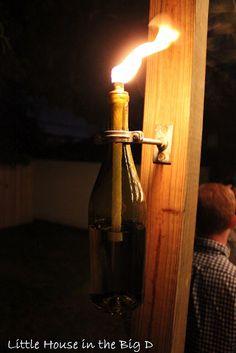Tiki torches using wine bottles #DIY