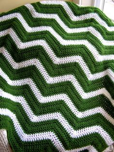 chevron zig zag baby blanket afghan wrap crochet knit lap wheelchair ripple stripes VANNA yarn RISH christmas green white st patricks day on Etsy, £50.44