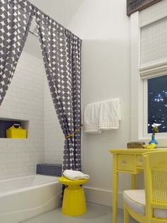 Yellow & Gray | Bold Color | Cute Stool | Bathroom | Shower Curtain | Bath Accessories