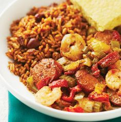 Shrimp and Andouille Sausage Jambalaya is quick, easy and full of flavor! Your family will just love it. Add more Cajun seasoning if you like it spicy.