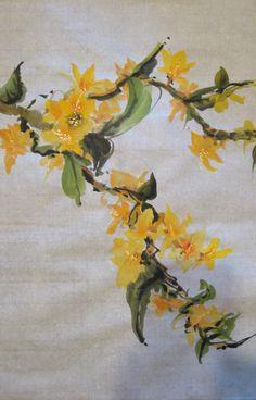 """蘭 (""""Lan"""") - ORCHID  Ink & Color on Double Xuan"""