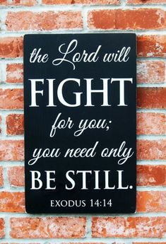 """ The LORD will fight for you, and all you have to do is keep still."" Exodus 14:14"