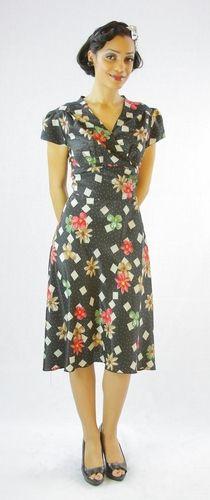 A classic black vintage floral print dress by #queenofheartz $124