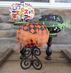 Mod Podge Pumpkins - Festive fabric and Mod Podge make this a fun pumpkin craft for Halloween.