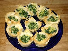 apetizers made with phylo sheets | the top spinach phyllo cups printable recipe makes 30 servings