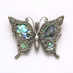 Marcasite Butterfly Pin with Onyx at theBIGzoo.com, a family-owned gift shop with 12,000+ animal-themed items.