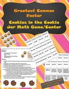 """Greatest Common Factor (GCF) Math Game/Math Center: This is a great station or game for students to practice finding the Greatest Common Factor (GCF). Students play in groups of 2-3.They flip one card over. Everyone in the group tries to accurately complete the problem (this is not a race!). Once everyone has finished, they check answers.All students with correct answers roll the dice. Whatever they roll is the number of """"cookies"""" they put into their """"cookie jar""""."""