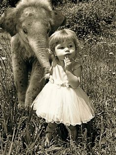 little elephant and little girl elephants, little girls, anim, vintage photos, pet, little ones, baby girls, friend, kid