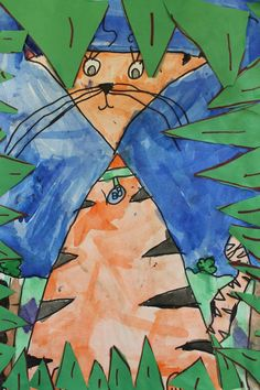Shape animals...triangle cat cats, animals, room 104, shape anim, animal art lessons, shape art, anim art, 1st grade, art rooms
