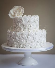 Wedding cake with applied royal icing spirals.