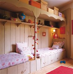 ... kid beds, bunk beds, room decorations, kid rooms, twin beds, small rooms, media room, small room decor, dream rooms
