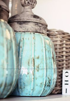 torquoise and antique all in one vintage jars, turquoise, color, old world style, robin egg blue, aqua, kitchen accessories, painted jars, blues
