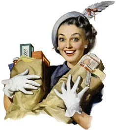 She's really fired up about her shopping purchases! :) #vintage #woman #shopping #groceries #hat #1950s #homemaker #housewife