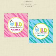 Valentines Day Tags - Wild About You Printable Valentine's Day Tags by 505 Design, Inc