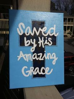 Saved By His Amazing Grace 9x12 Cross Painting by TheCreatorsHands, $30.00