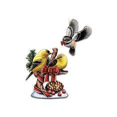 """Holiday Tweets"" Goldfinch Figurine and Hanging Chickadee"