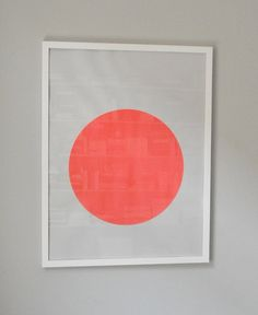 circle screenprint on paper, framed, coral
