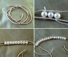 DIY pearl and lace bracelets