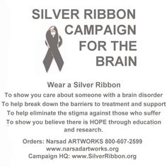 Silver Ribbons support Parkinson's Disease. I wear mine to support my grandfather. They need to find a cure.