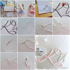 How to make beads Monogram Card step by step DIY instructions