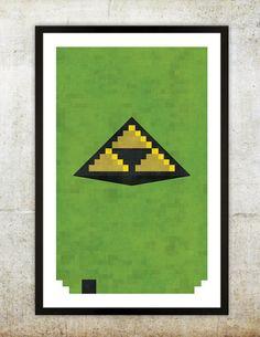 """Retro NES Legend Of Zelda inspired print 11X17""""."""