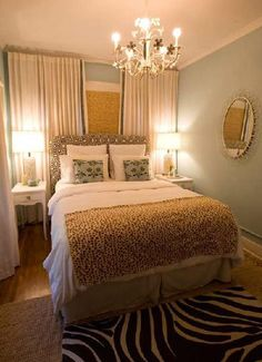 Have a tiny bedroom & have to put your bed in front of a window? These curtains are lush and wonderful! Really make the space feel cozy. curtains in bedroom, small bedroom idea, guest bedrooms, tiny bedroom, master bedrooms, small bedroom master, small bedroom small window, cozy small bedroom, curtain wall bedroom