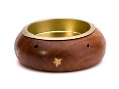 Wooden charcoal disc burner for incense powders and gums with brass stars - $4.99