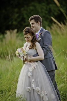 Bride and Groom wearing gray