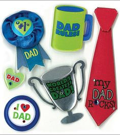 No. 1 Dad! Stickers perfect to embellish a Father's Day card!