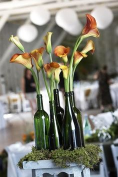 calla lilies, wedding centre pieces, vineyard wedding, beer bottles, decorations, wine bottles, table centerpieces, flower, calla lillies