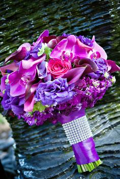 Purple Orchid, Purple Hydrangea, Pink Rose Bouquet