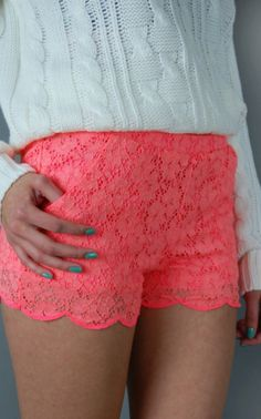 Coral lace shorts