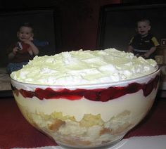 Punch Bowl Cake 1 yellow cake mix, 1 20oz. can crushed pineapple drained a little bit, 1 5oz. package instant vanilla pudding mix, 1 21oz. can Strawberry Pie Filling or Cherry (or fresh strawberries), 1 16oz. pkg. frozen whipped topping, thawed. Prepare the cake mix as directed. Bake in a 9x13 inch pan, or two 8 inch round pans. Cool the cake; set aside. Prepare...