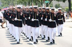 national memorial day parade. marines honor guard.