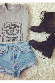 #style soft grunge, high waisted shorts, outfit, casual styles, denim shorts, rocker chic, jack daniels, shirt, combat boots