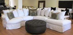 White Denim Sofa Sectional Slipcover Studio Sectional