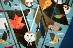 Charley Harper - We Think the World of Birds charley harper, charli harper, bird art, charlie harper, awesom owl, birds, eye view, eyes, bird eye