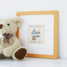 Personalised christening picture by milly and pip. The picture is available  in pinks, blues or neutrals and comes ready framed.