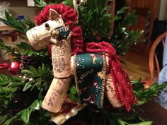 Beautiful handmade cork horse Christmas ornament