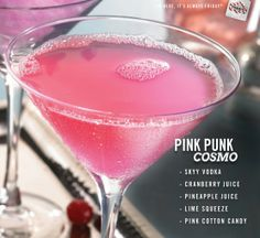 A fun twist on the Cosmopolitan, perfect for girls' night out. Mix SKYY Vodka, cranberry juice, pineapple juice and lime squeeze, and pour over pink cotton candy.