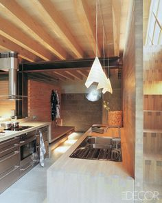 The kitchen counters, like the staircase, are constructed from dovetailed oak.