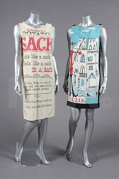 "1960s ""sack"" dresses. Now we know them as ""shift"" dresses."