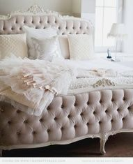 Tufted Bed. Luscious boudoirs. More lusciousness at www.myLusciousLife.com
