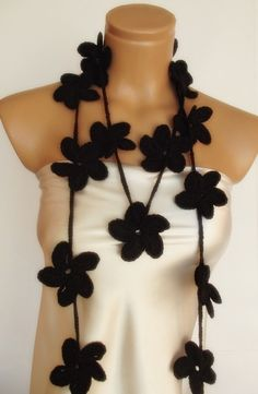 hand crocheted floral scarf lariat necklace black by smilingpoet, $21.90