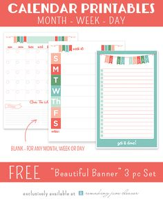 """Printable Calendar Set: """"Beautiful Banner"""" - Monthly, Weekly & Daily planning with goals"""