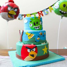 Colorful Angry Birds Themed Birthday Cake