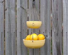 COLOR: JADE GREEN. Hanging Fruit Basket  MADE TO ORDER  Color by vesselsandwares, $70.00