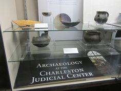 Artifacts on display at the Judicial Center from Archaeological excavations done by New South and Associates photo by Archaeological Research Collective Inc, via Flickr #southcarolina #archaeology #colonoware #history #travel #charleston